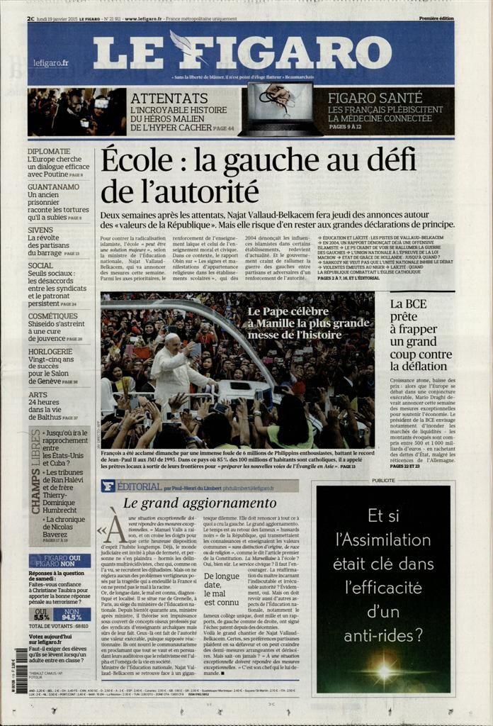 La Une de la presse quotidienne nationale ce 19 janvier.