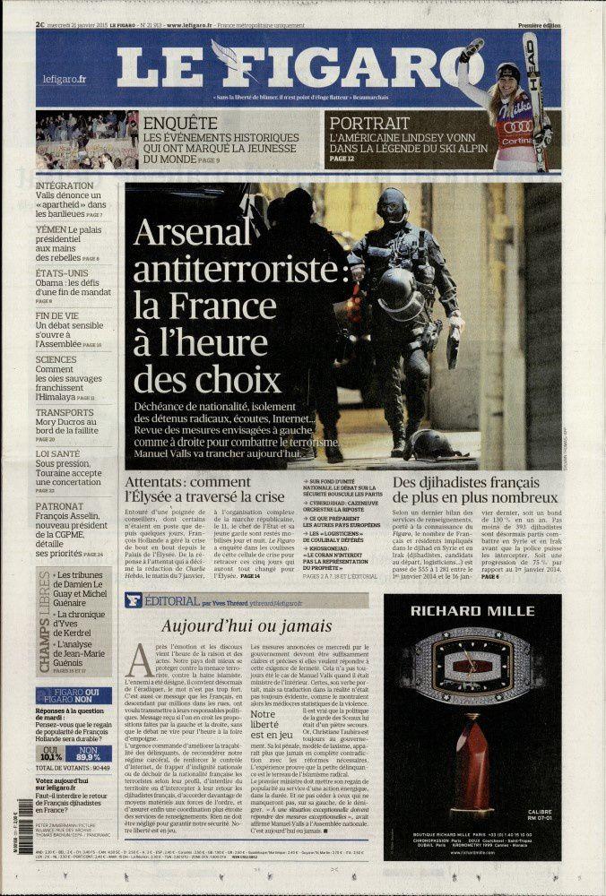 La Une de la presse quotidienne nationale ce 21 janvier.