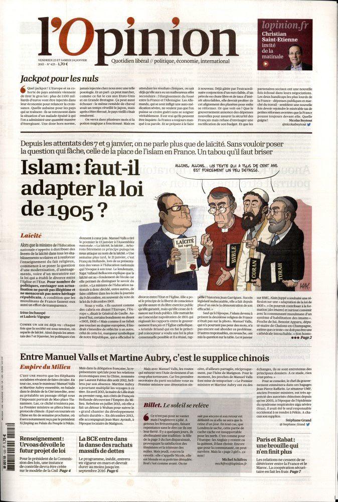 La Une de la presse quotidienne nationale ce vendredi 23 janvier.