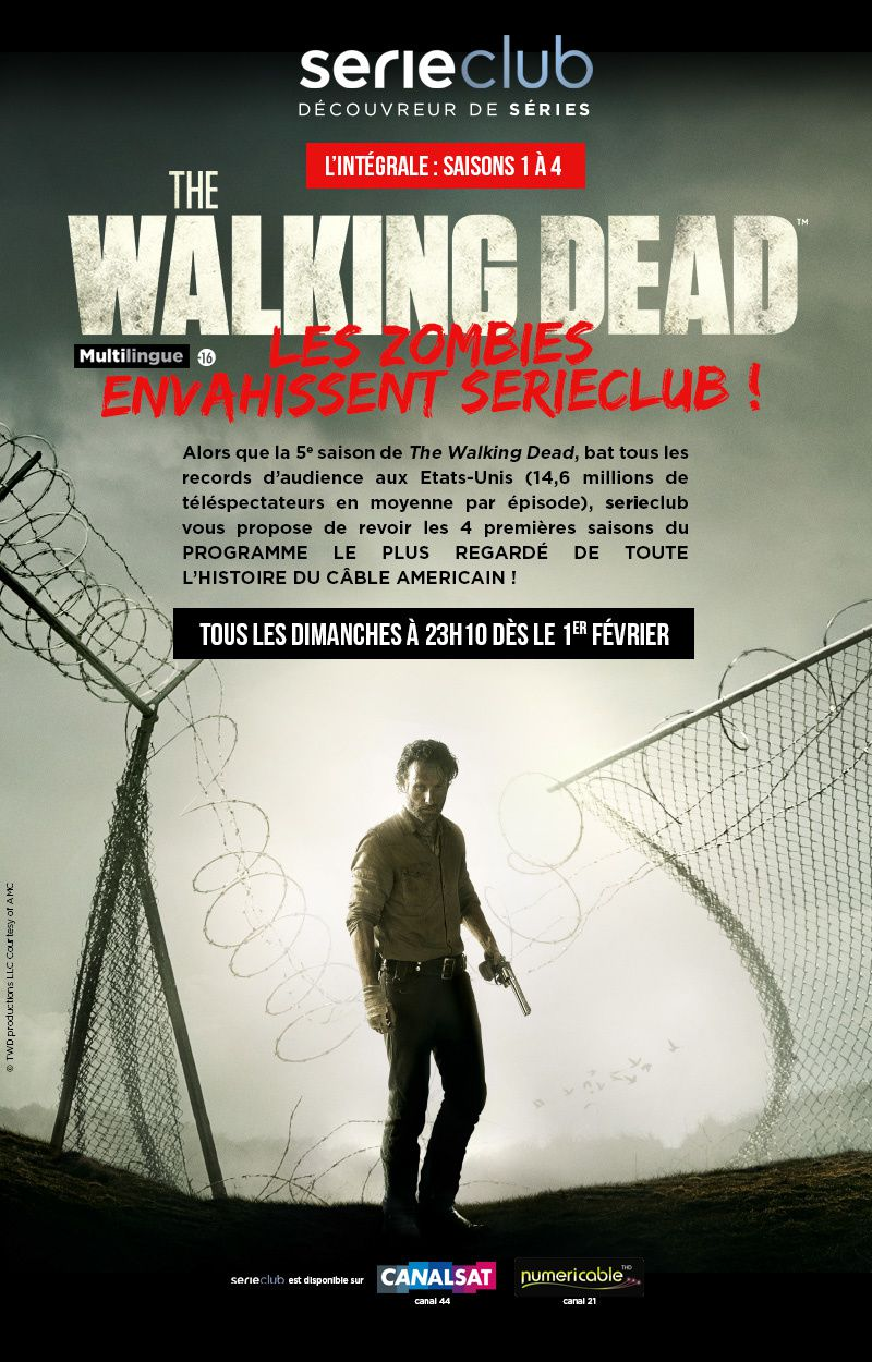Série Club propose de revoir les saisons 1 à 4 de The Walking Dead.