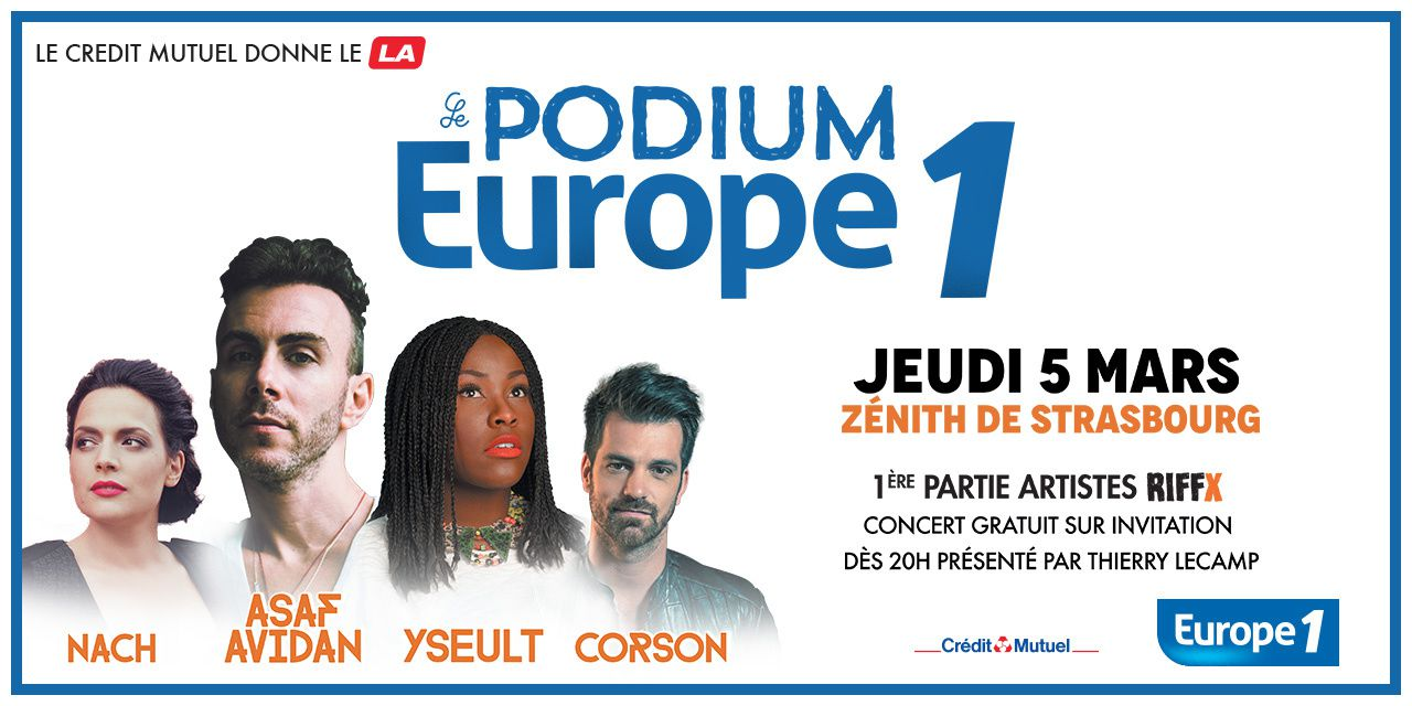 Retour du Podium Europe 1 : concerts à Strasbourg, Nancy, Dijon, Paris.