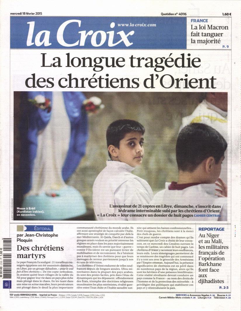 La Une de la presse quotidienne nationale ce mercredi 18 février.