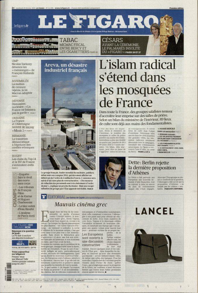 La Une de la presse quotidienne nationale ce vendredi 20 février.