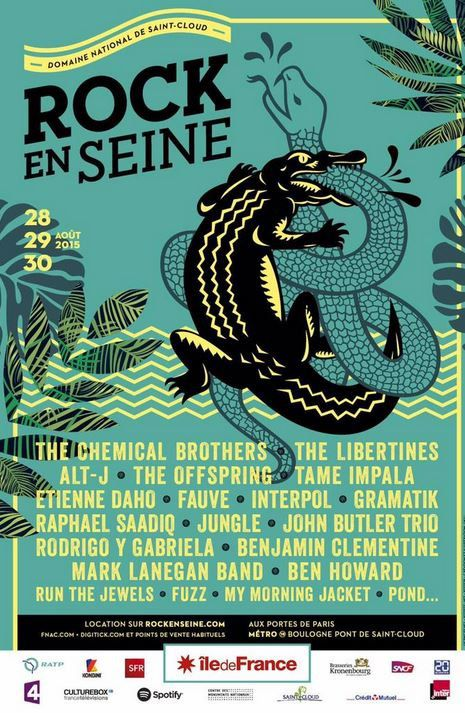 Rock en Seine 2015 avec Chemical Brothers, Offspring, Benjamin Clementine, Daho...