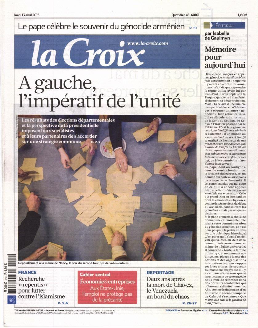 La Une des quotidiens nationaux ce lundi 13 avril.