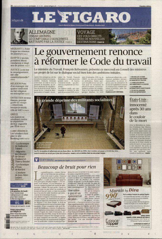 La Une de la presse quotidienne nationale ce mercredi 22 avril.