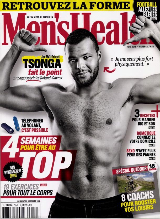 Jo-Wilfried Tsonga pose torse nu en Une de Men's Health.