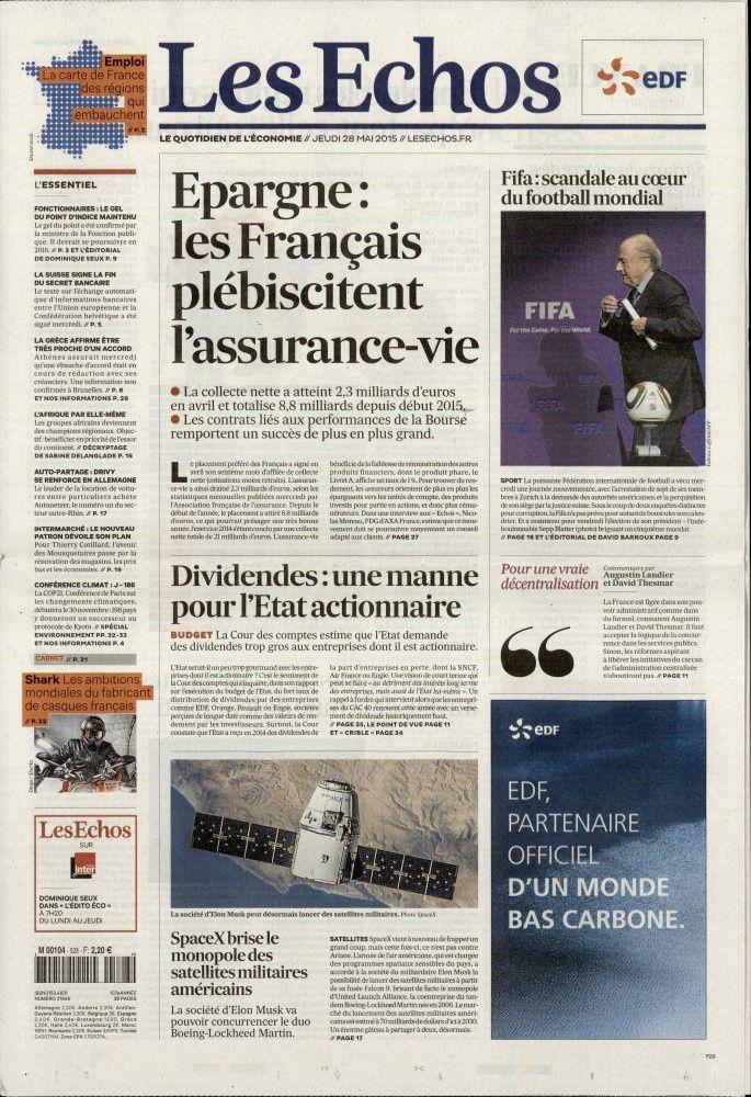 Les Unes des quotidiens nationaux ce jeudi 28 mai (scandale FIFA).