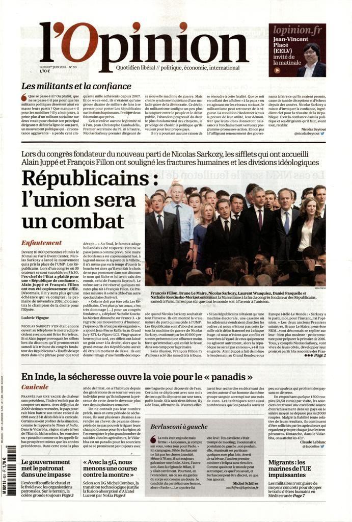 La Une de la presse quotidienne nationale ce lundi 1er juin.
