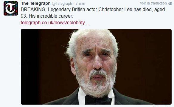 Le comédien britannique Sir Christopher Lee est mort.