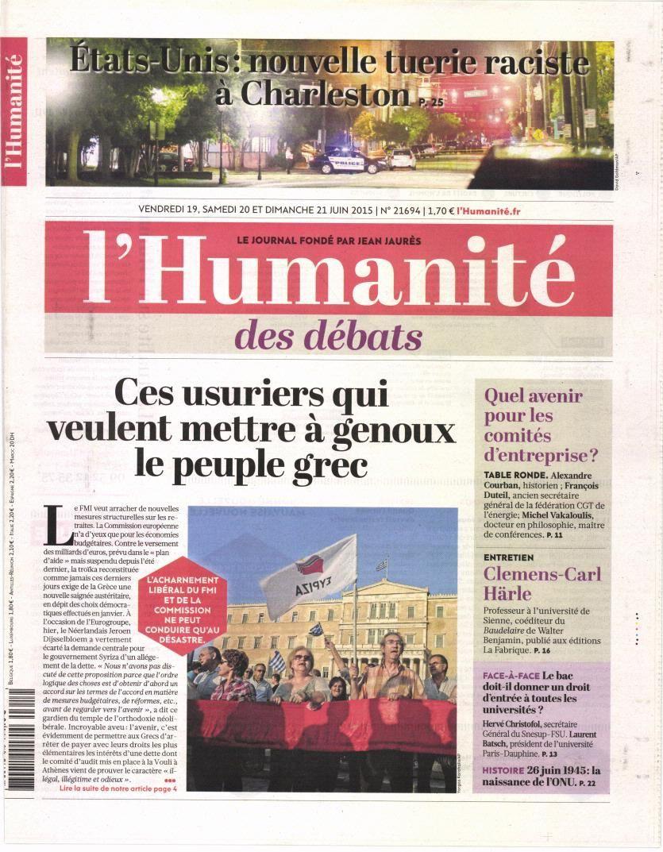 La Une des quotidiens nationaux ce vendredi 19 juin 2015.