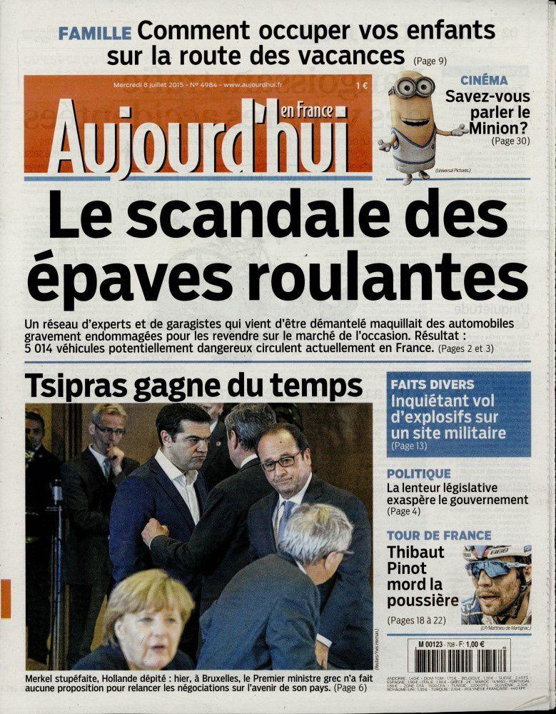 La Une des quotidiens nationaux ce mercredi 8 juillet 2015.