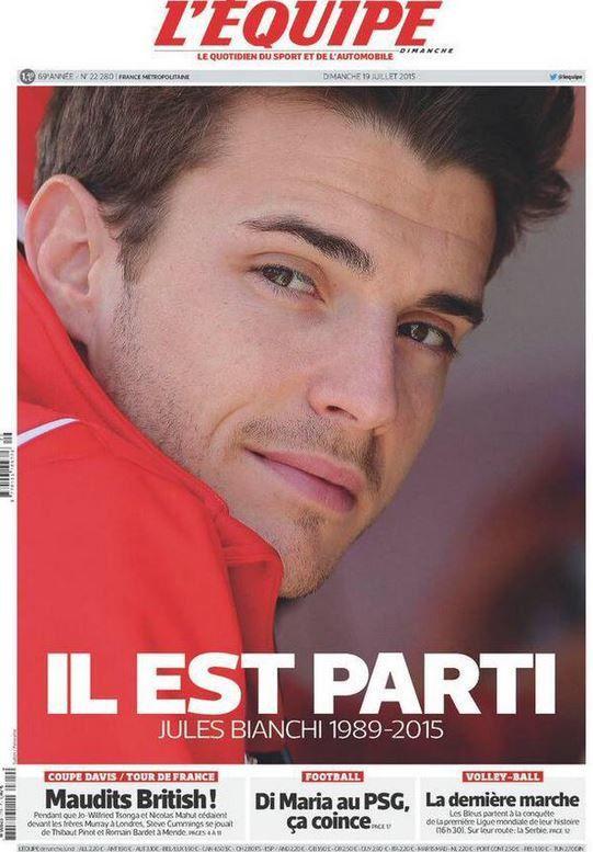 La Une de L'Equipe consacrée à Jules Bianchi ce dimanche 19 juillet.