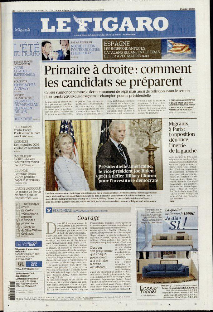 La Une des quotidiens nationaux ce mercredi 5 août.