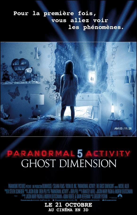 Paranormal Activity 5 Ghost Dimension : l'affiche française du film.