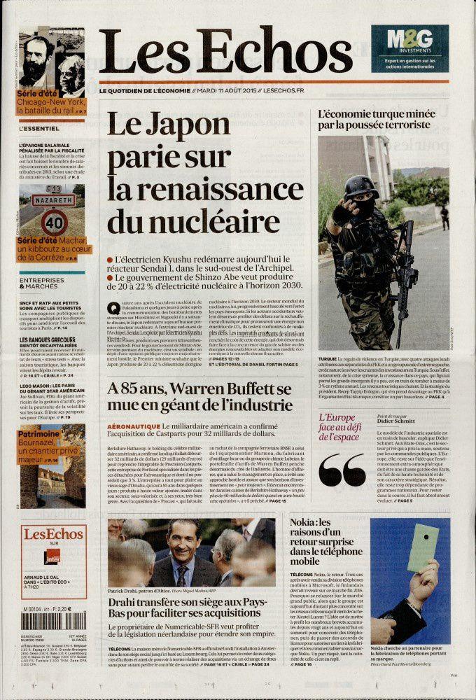 La Une des quotidiens nationaux ce mardi 11 août.