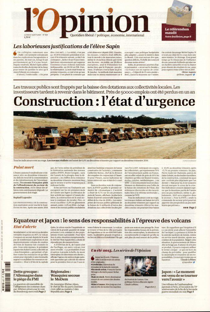 La Une des quotidiens nationaux ce lundi 17 août.