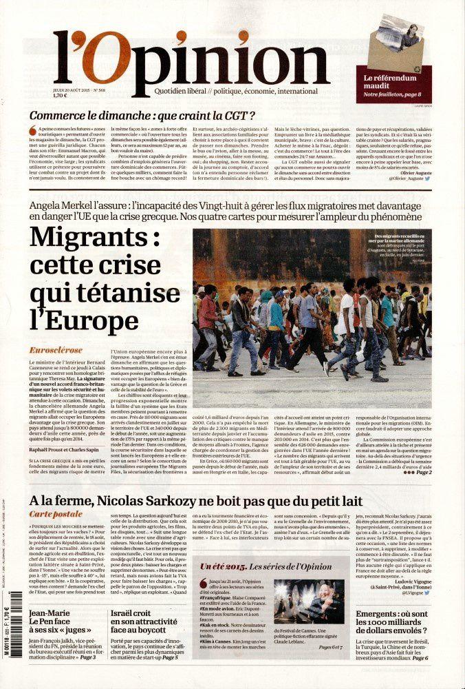 La Une des quotidiens nationaux parus ce jeudi 20 août.