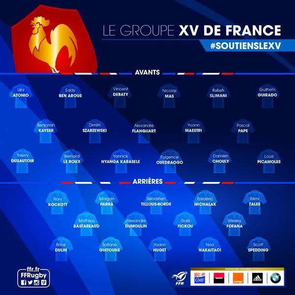 Liste des 31 sélectionnés français pour la coupe du monde de rugby.