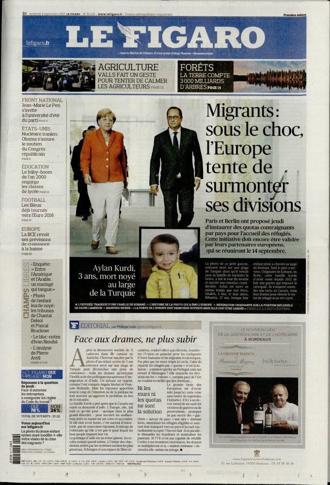 La Une des quotidiens nationaux parus ce vendredi 4 septembre.
