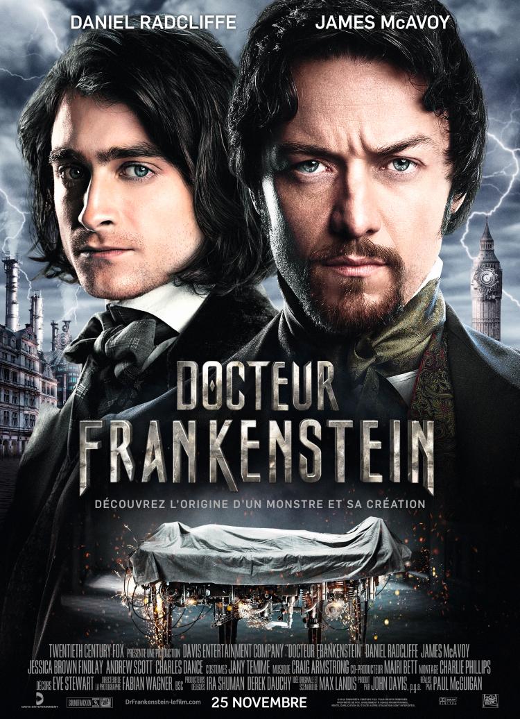 L'affiche française de Victor Frankenstein, avec Daniel Radcliffe.