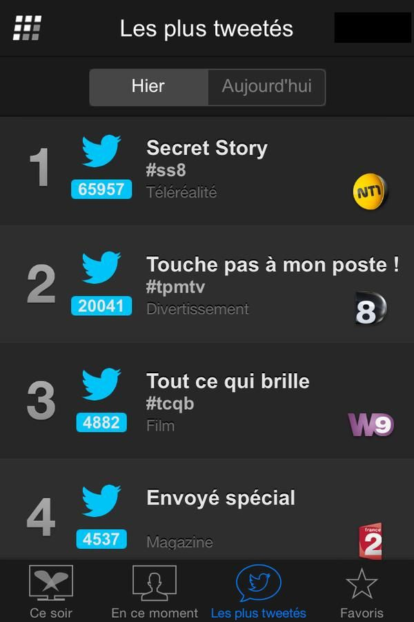 Programmes TV les plus tweetés jeudi 10 septembre (Followatch).