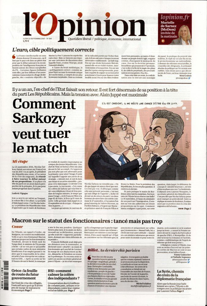 La Une de la presse quotidienne nationale ce lundi 21 septembre.