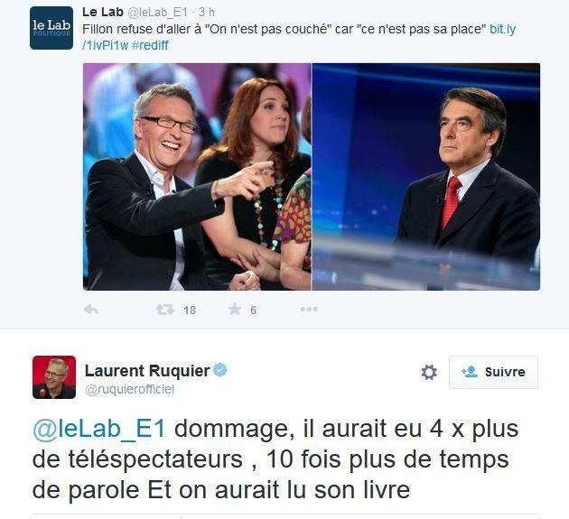 Quand Laurent Ruquier ironise sur le choix de François Fillon.