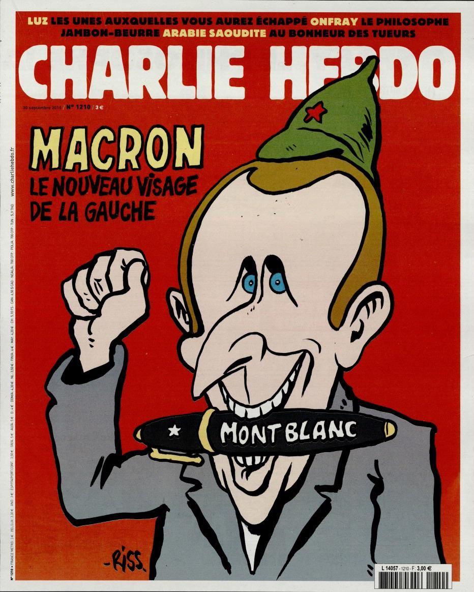 Emmanuel Macron croqué en Une de Charlie Hebdo par Riss.