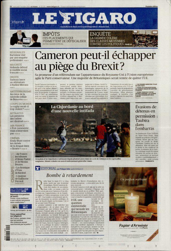 La Une des quotidiens nationaux ce mercredi 7 octobre.