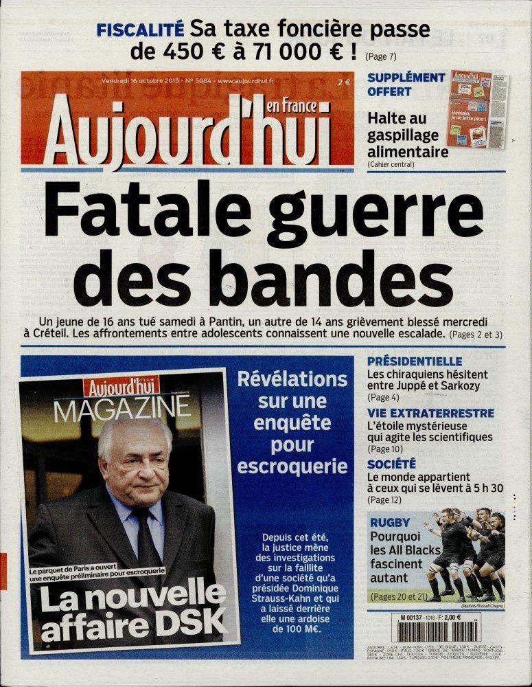 La Une des quotidiens nationaux ce vendredi 16 octobre.