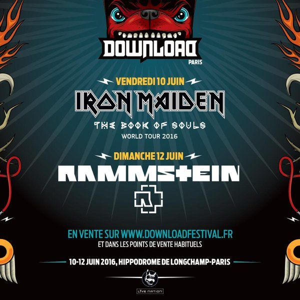 Rammstein et Iron Maiden au Download Festival à Paris.
