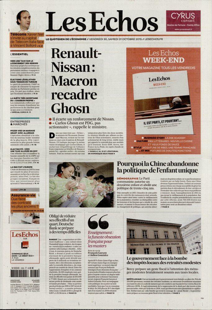 La Une de la presse quotidienne nationale ce vendredi 30 octobre.