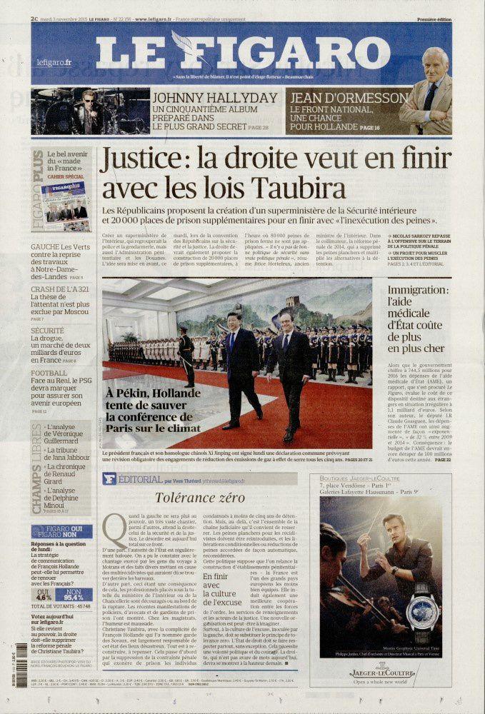 La Une de la presse quotidienne nationale ce mardi 3 novembre.