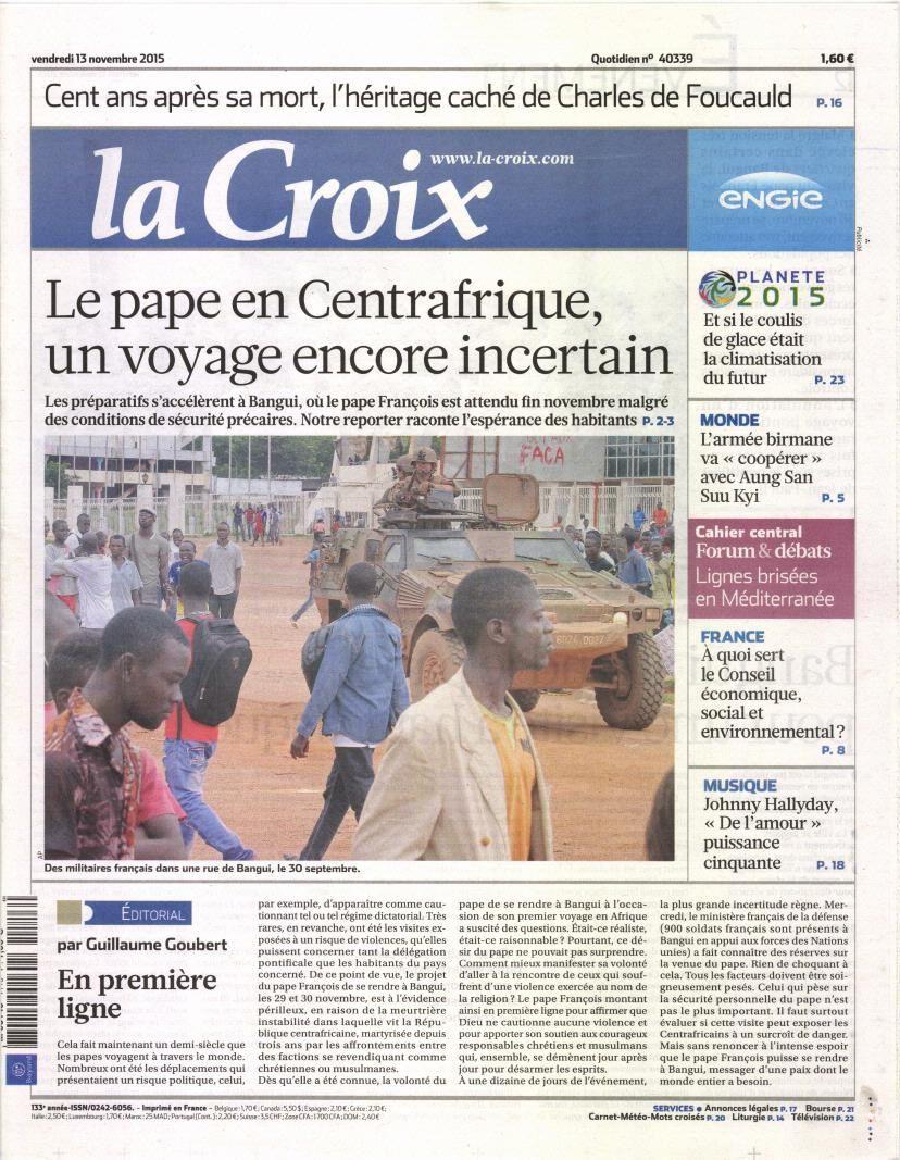 La Une de la presse quotidienne nationale ce 13 novembre.