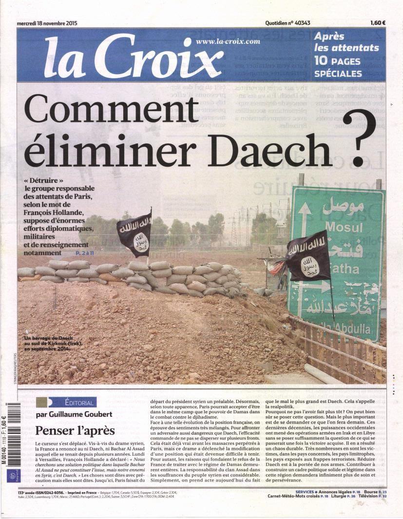 La Une de la presse quotidienne nationale ce mercredi 18 novembre.