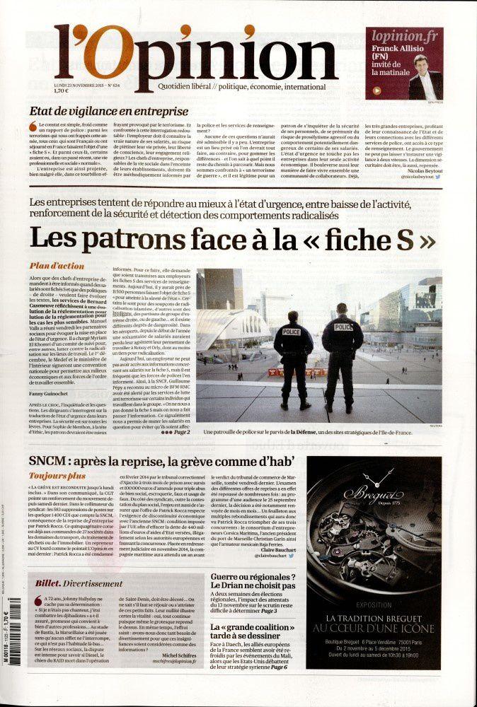 La Une de la presse quotidienne nationale ce 23 novembre.
