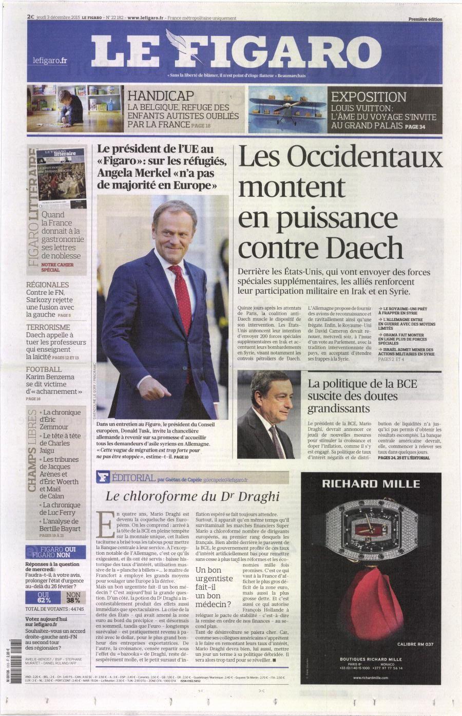 La Une de la presse quotidienne nationale ce jeudi 3 décembre.