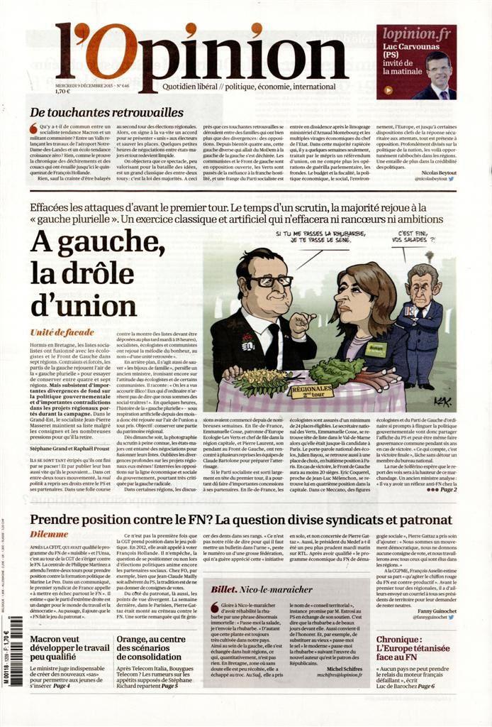 La Une de la presse quotidienne nationale ce mercredi 9 décembre.