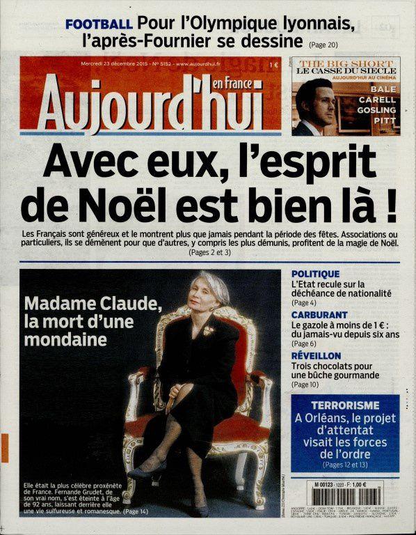 La Une de la presse quotidienne nationale ce mercredi 23 décembre.