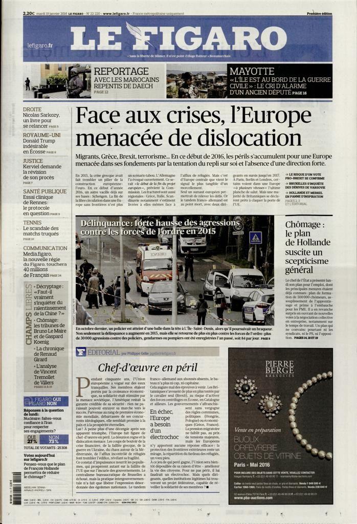 La Une de la presse quotidienne nationale ce mardi 19 janvier.