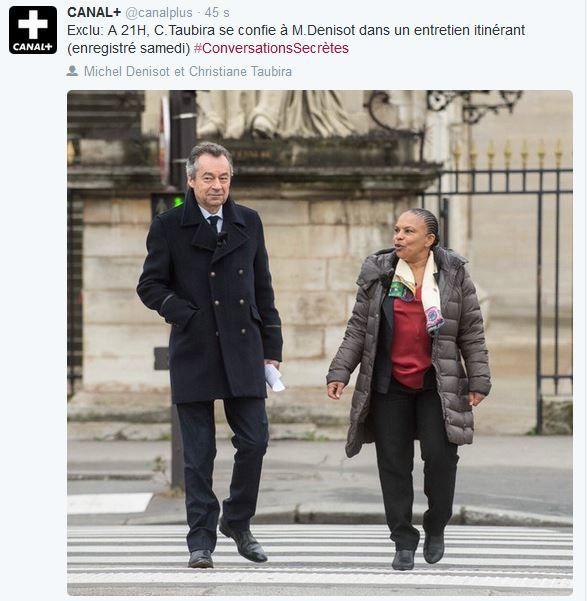 Entretien Christiane Taubira - Michel Denisot ce mercredi soir sur Canal+.