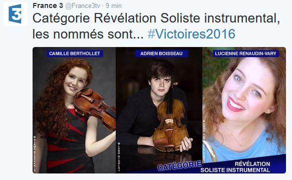 Nominations Victoires de la musique classique 2016.