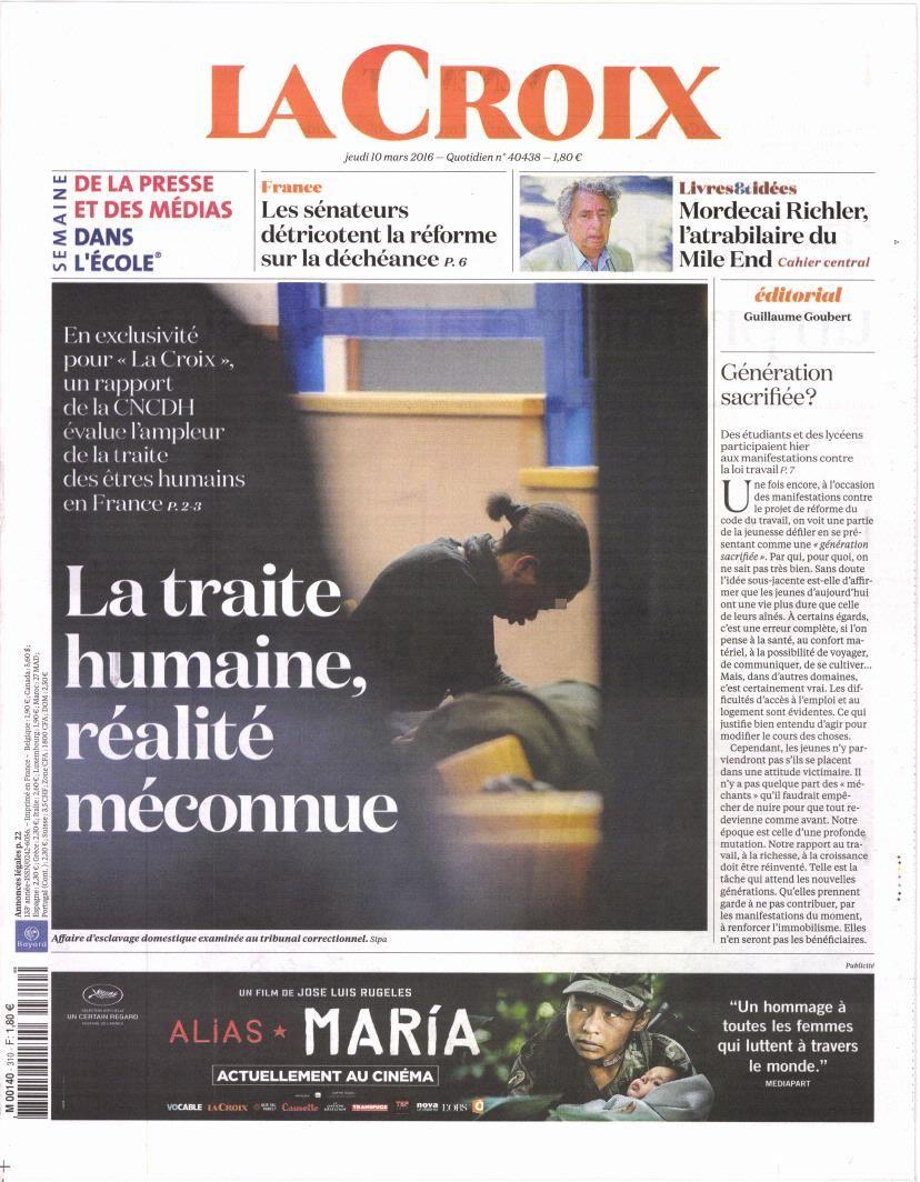 La Une des quotidiens nationaux ce jeudi 10 mars.