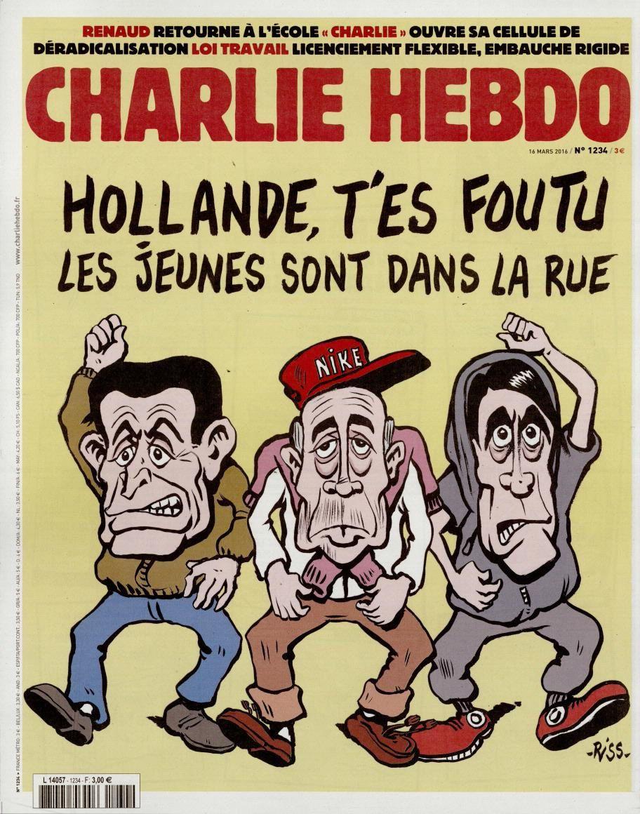 La Une de Charlie Hebdoo par Riss ce mercredi 16 mars.