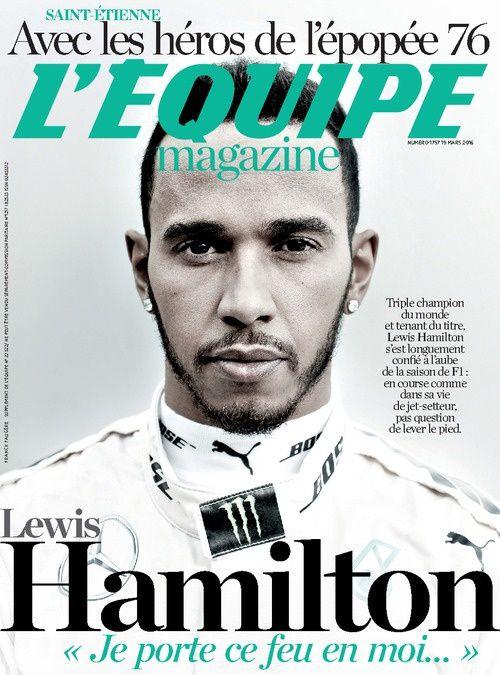 Lewis Hamilton en Une de L'Equipe Magazine samedi.