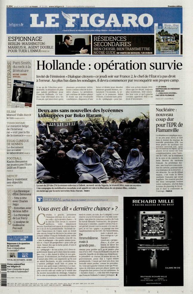 La Une des quotidiens nationaux ce jeudi 14 avril.