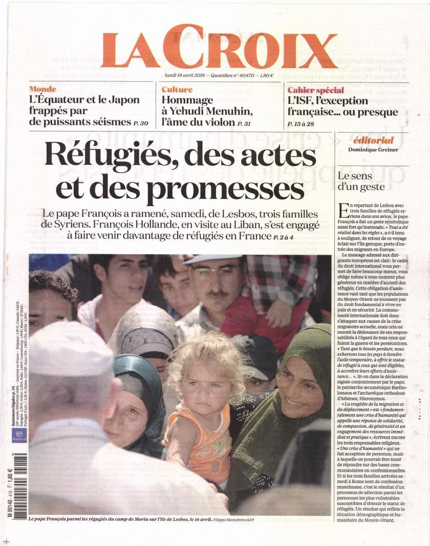 La Une des quotidiens nationaux ce lundi 18 avril.