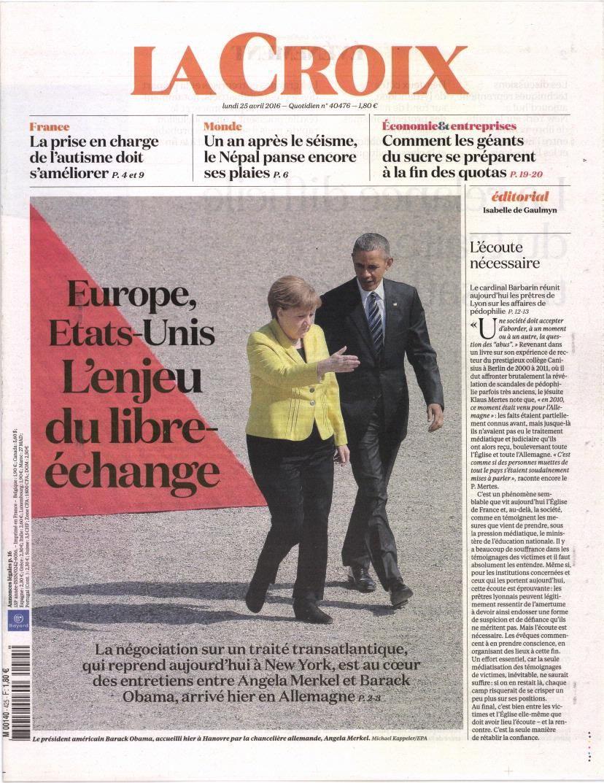 La Une des quotidiens nationaux ce lundi 25 avril.