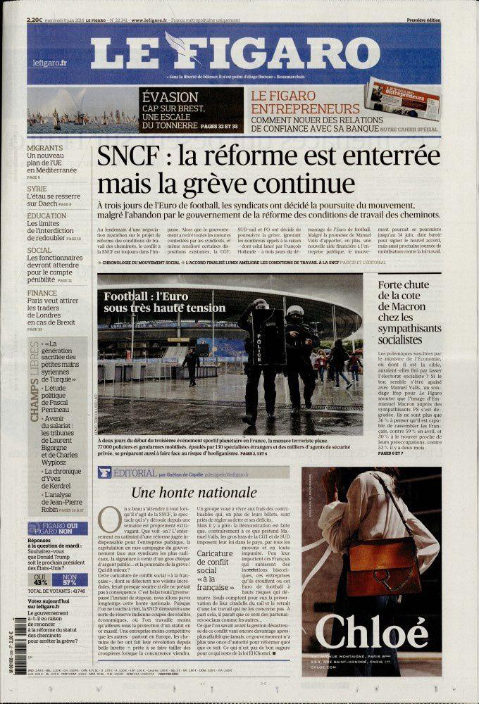 La Une des quotidiens nationaux ce mercredi 8 juin.